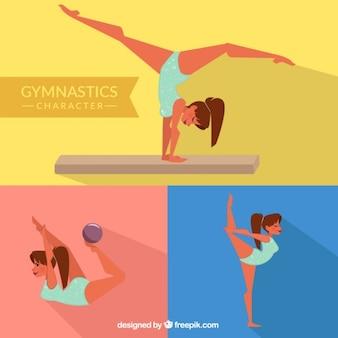 Chica gimnasta en diferentes posturas
