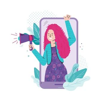 Chica grita en megáfono para compartir información con amigos o colegas.