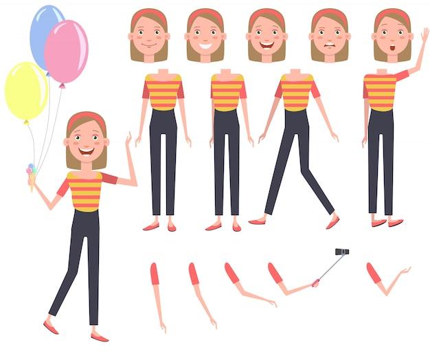 Chica guapa emocionada con montón de conjunto de caracteres coloridos globos
