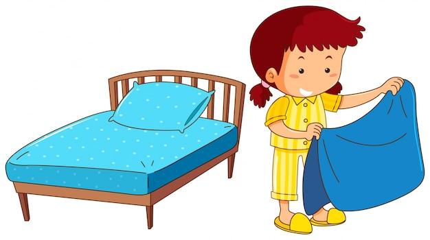Chica haciendo cama sobre fondo blanco