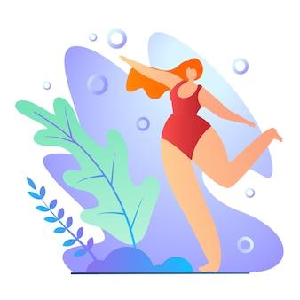 Chica haciendo ejercicios en traje de baño de dibujos animados plana.