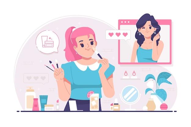 Chica haciendo fondo de ilustración de maquillaje