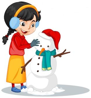 Chica haciendo muñeco de nieve en aislado