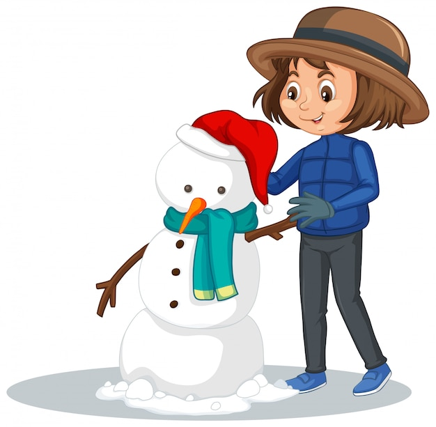 Chica haciendo muñeco de nieve en blanco