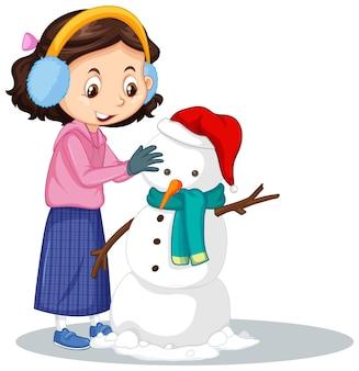 Chica haciendo muñeco de nieve sobre fondo aislado