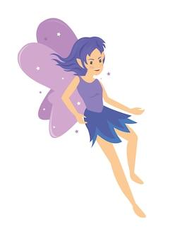 Chica de hadas púrpura angelical bastante joven que vuela con magia