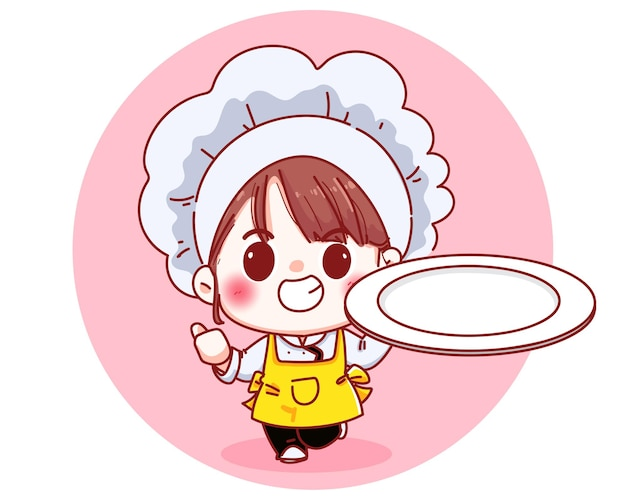 Chica hermosa chef sosteniendo una ilustración de dibujos animados de plato vacío