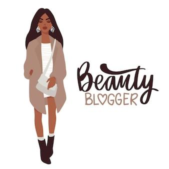 Chica hermosa con estilo en ropa de moda con bolsa