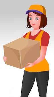 Chica hermosa mensajero con una caja de entrega