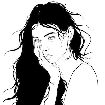 Chica hermosa pelo vector ilustración gafas