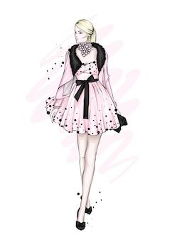 Una chica con un hermoso vestido vintage.