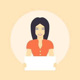Chica con hoja en blanco en las manos, personaje femenino de estilo plano, chica de pelo largo con vestido naranja, ilustración vectorial