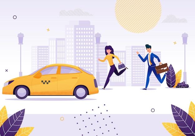 Chica y hombre de negocios corriendo para conseguir un taxi amarillo.