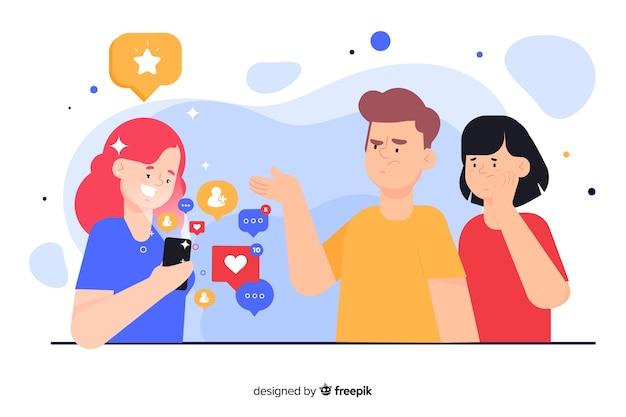 Chica ignorando ilustración del concepto de amigos