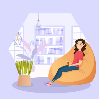 Chica de ilustración descansando en silla con taza de café