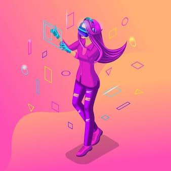 Chica isométrica jugando en un juego virtual. los adolescentes son la generación z con gadgets. color de cabello brillante, hermosos colores elegantes.