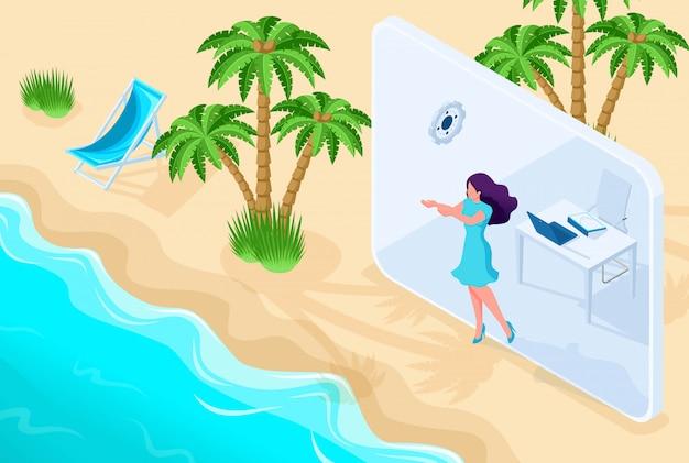 Chica isométrica va de la oficina a las vacaciones a través de la tableta. concepto para diseño web