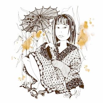 Chica japonesa en kimono con paraguas.