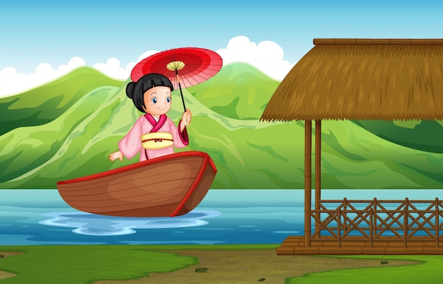 Chica japonesa tradicional en la naturaleza