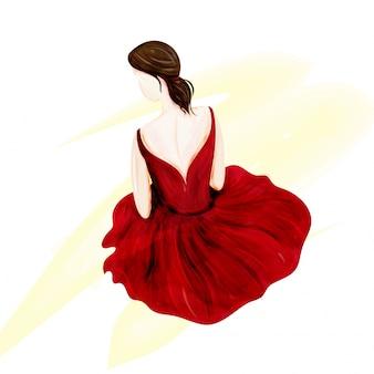 Chica joven bailarina, backpose.