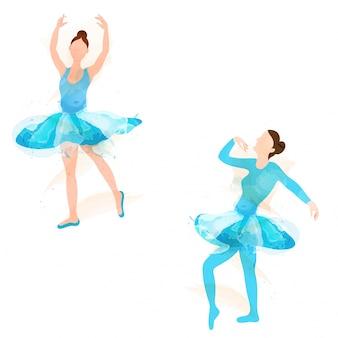Chica joven bailarina en diferentes poses de baile de ballet.