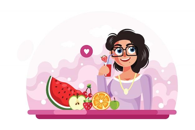 Chica joven bebiendo jugo ilustración vectorial