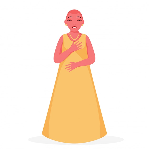 Chica joven calva con vestido amarillo sobre fondo blanco.
