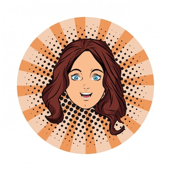 Chica joven cara avatar dibujos animados pop art