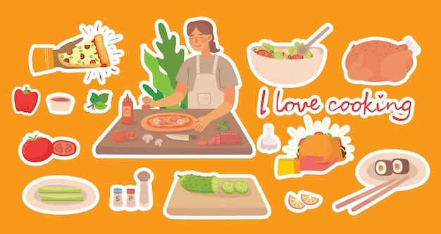 Chica joven cocinando pizza en la cocina de casa. concepto de vector de pegatinas de cocina en el estilo plano