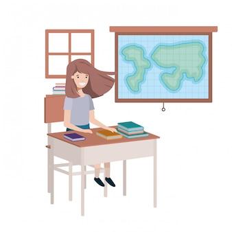 Chica joven estudiante en aula de geografía