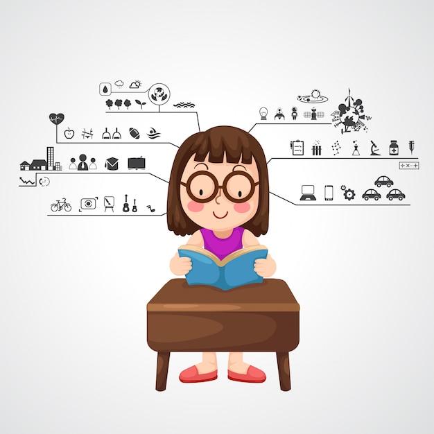 Chica joven con el icono de funciones del cerebro izquierdo y derecho