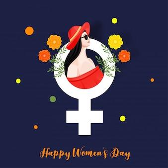Chica joven moderna hermosa con venus sign y flores en el fondo azul para el concepto feliz de la celebración del día de las mujeres.