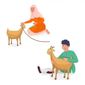 Chica joven musulmana y niño alimentando hierba a cabras marrones sobre fondo blanco.