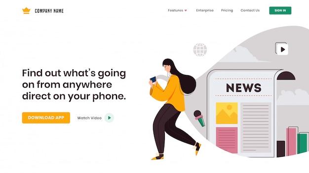 Chica joven que usa el teléfono inteligente para aplicaciones sociales como infografías de periódicos y web diseño de página de destino.