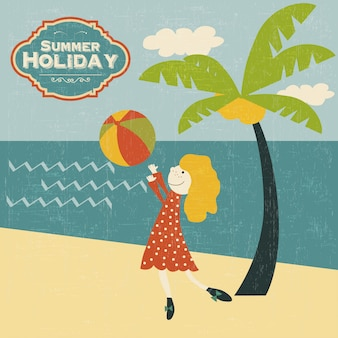 Chica joven retro jugando a la pelota en la playa
