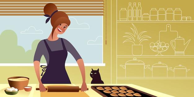 Chica joven con un rodillo está preparando la masa para un pastel.