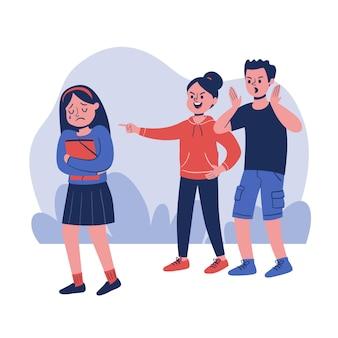 Chica joven siendo intimidada ilustrada