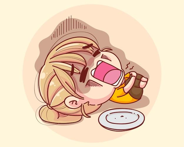 Chica joven siente hambre quiere comer ilustración de dibujos animados