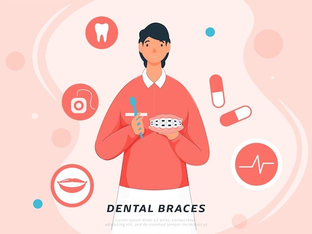 Chica joven sosteniendo aparatos dentales con herramienta limpia y medicamentos sobre fondo rosa pastel.