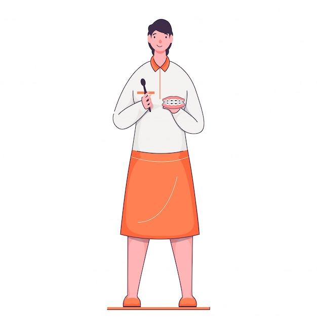 Chica joven sosteniendo con los apoyos de los dientes en pose de pie. herramienta de limpieza de llaves