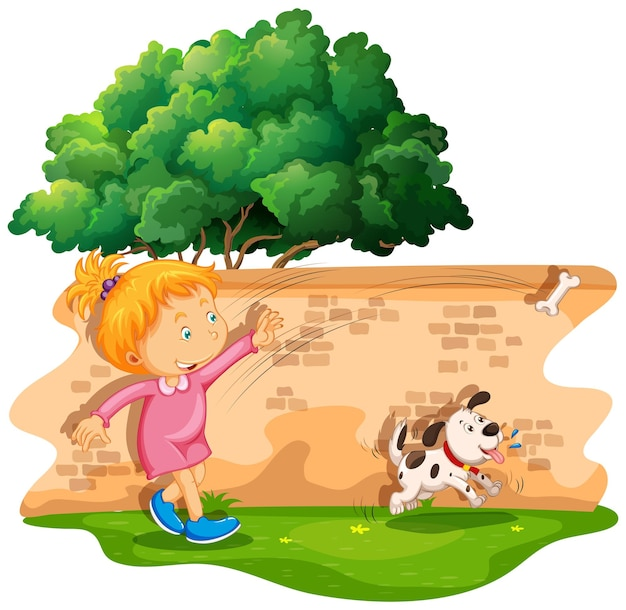 Chica lanzando hueso para perro