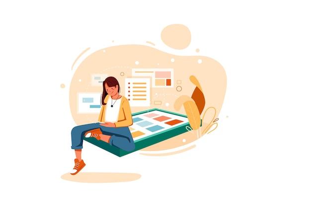 Chica lanzando su propia aplicación ilustración