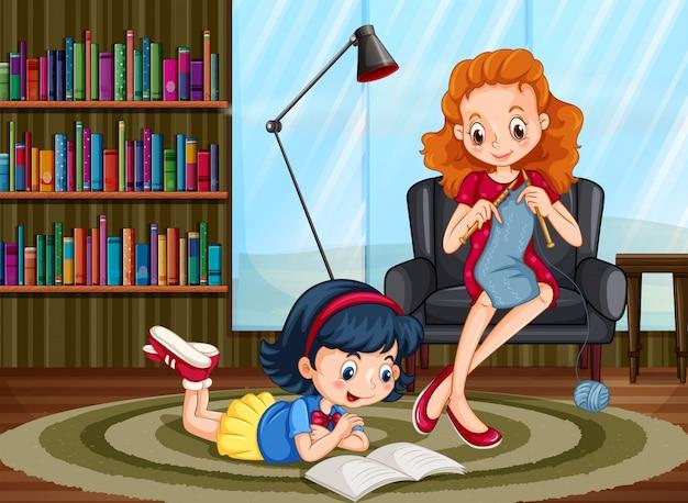 Chica leyendo y mujer tejiendo en la habitación.