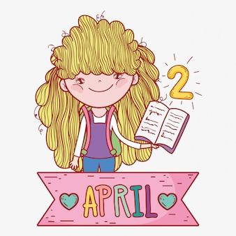 Chica con libro para aprender en el día de la literatura.