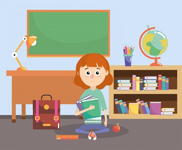 Chica con libros de educación y mochila en el aula.