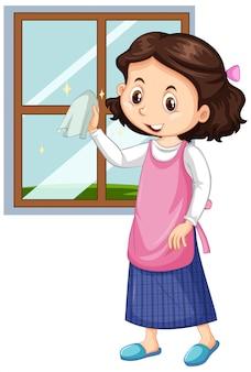 Chica limpiando ventanas en blanco