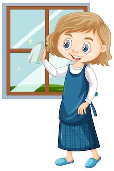 Chica limpiando ventanas