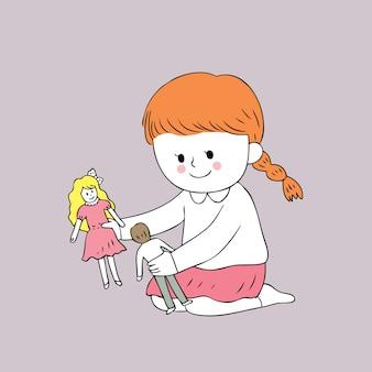 Chica linda de dibujos animados jugando vector de muñecas.
