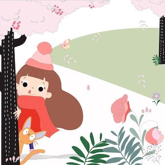 Chica linda de dibujos animados y gato en el bosque rosa