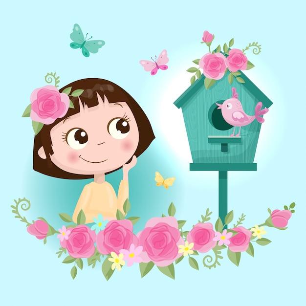 Chica linda de la historieta en una corona de flores rosas con mariposas